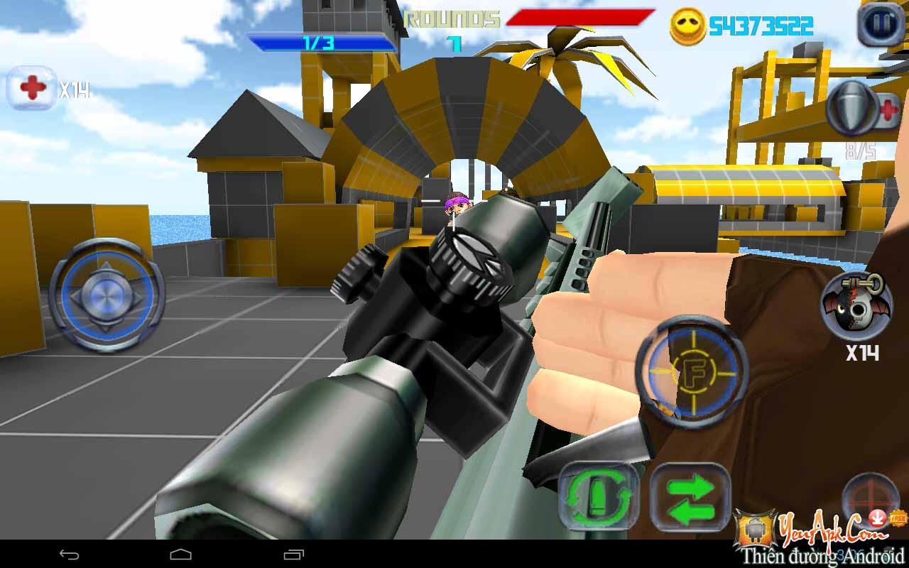 Hack Gun Shoot War Q mod full tiền vàng cho Android