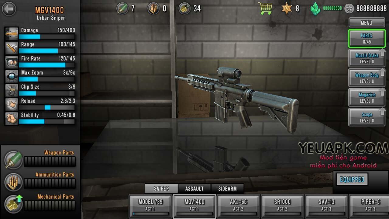 Hack Last Hope Sniper mod kim cương, full tiền cho Android