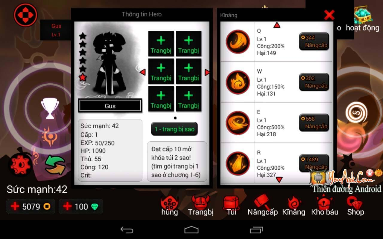 Hack League Of Stickman mod tiền, combo nhanh cho Android