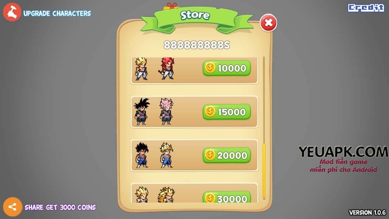 Tải hack Battle Of Super Saiyan Heroes mod vàng miễn phí